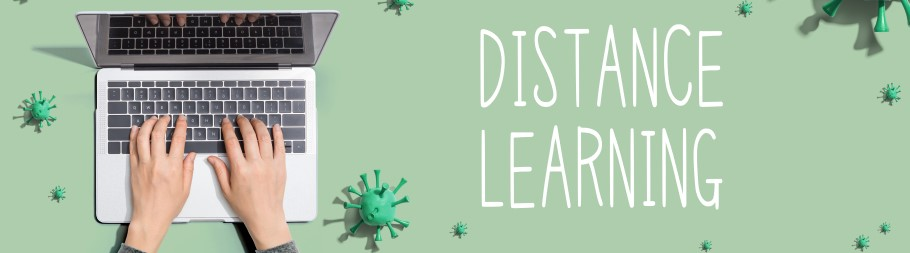 Distance learning visual with a computer and distance learning text